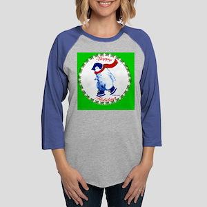 HappyHolidaysPenguin-green-A.p Womens Baseball Tee