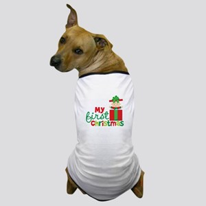 Baby in Present Babies 1st Christmas Dog T-Shirt
