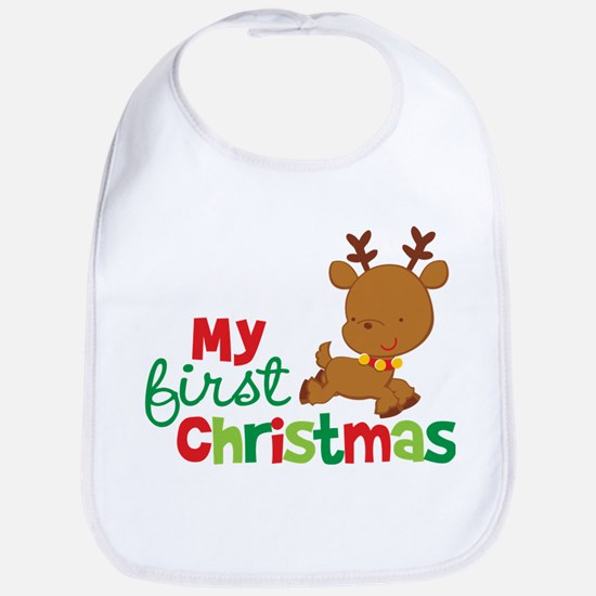 Santa Reindeer Babies 1st Christmas Bib