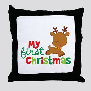 Santa Reindeer Babies 1st Christmas Throw Pillow