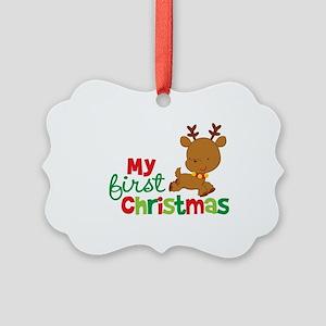 Santa Reindeer Babies 1st Christmas Picture Orname