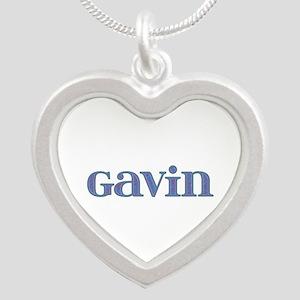 Gavin Blue Glass Silver Heart Necklace