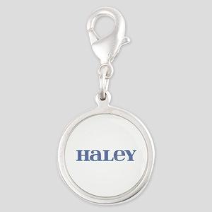 Haley Blue Glass Silver Round Charm