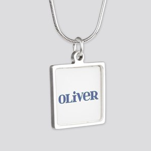 Oliver Blue Glass Silver Square Necklace
