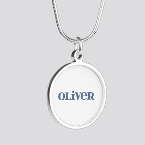 Oliver Blue Glass Silver Round Necklace