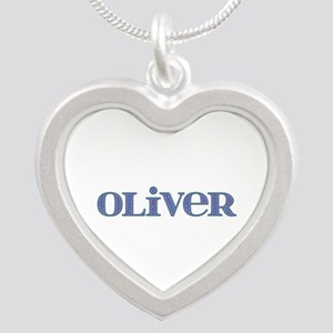 Oliver Blue Glass Silver Heart Necklace