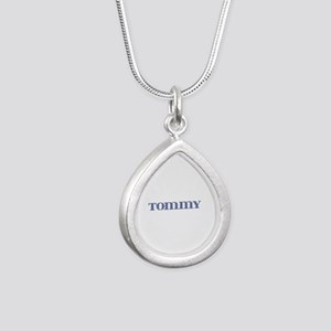 Tommy Blue Glass Silver Teardrop Necklace