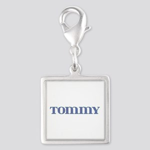 Tommy Blue Glass Silver Square Charm