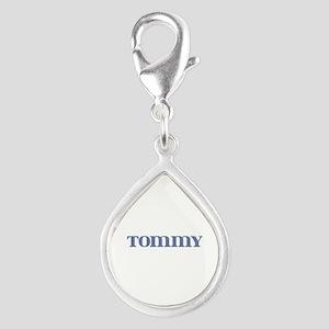 Tommy Blue Glass Silver Teardrop Charm