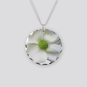 Flower Dogwood Necklace Circle Charm