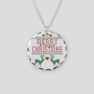Cross Stitch Christmas Necklace Circle Charm
