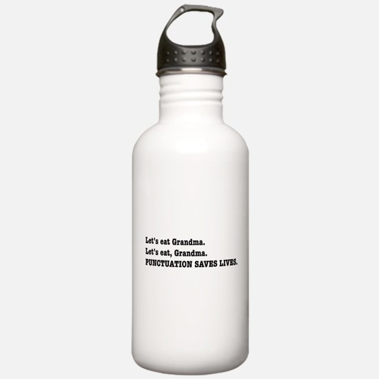 Punctuation Saves Lives Water Bottle