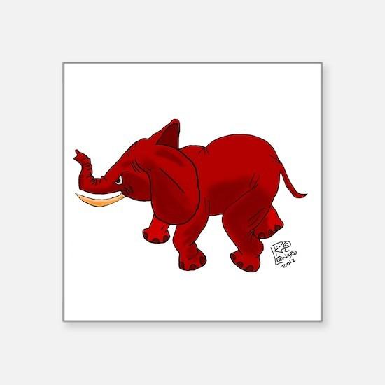 "Red Elephant Square Sticker 3"" x 3"""
