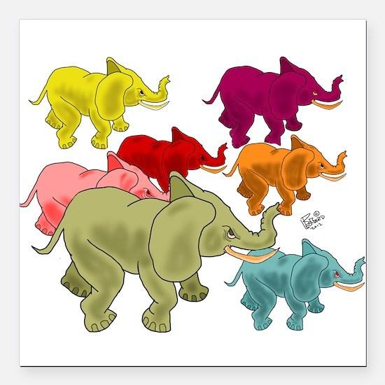 "Elephant Herd Square Car Magnet 3"" x 3"""