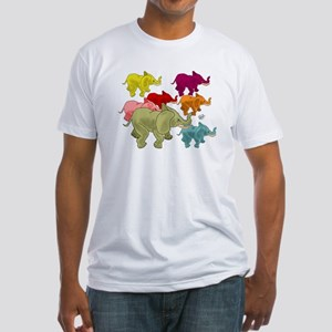Elephant Herd Fitted T-Shirt