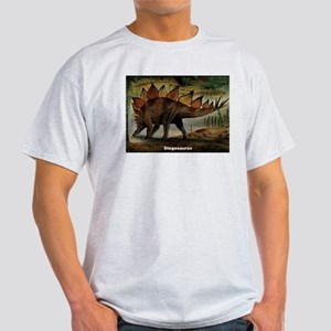 Stegosaurus Dinosaur (Front) Ash Grey T-Shirt