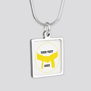 Custom Martial Arts Yellow Belt Silver Necklace