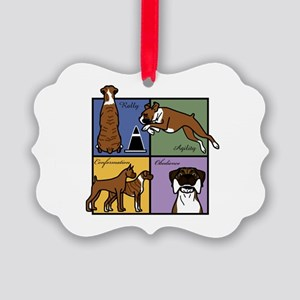 Boxer Four SquareT Picture Ornament