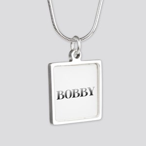 Bobby Carved Metal Silver Square Necklace