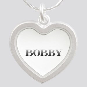 Bobby Carved Metal Silver Heart Necklace
