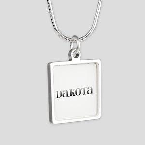 Dakota Carved Metal Silver Square Necklace