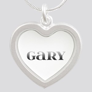 Gary Carved Metal Silver Heart Necklace