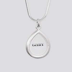 Gary Carved Metal Silver Teardrop Necklace