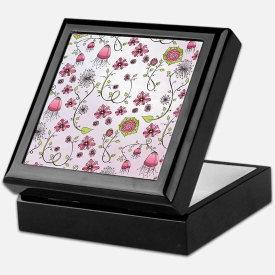 Whimsical pink flowers on pink Keepsake Box