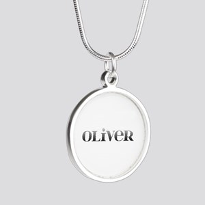 Oliver Carved Metal Silver Round Necklace