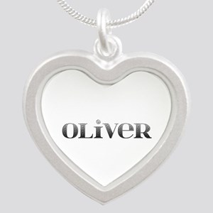 Oliver Carved Metal Silver Heart Necklace