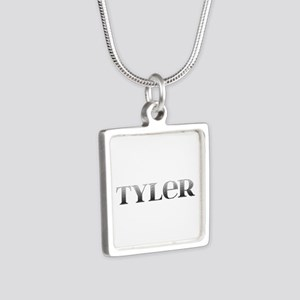 Tyler Carved Metal Silver Square Necklace