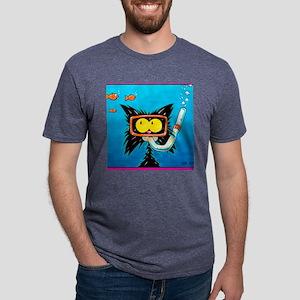 snorkling funny cat Mens Tri-blend T-Shirt