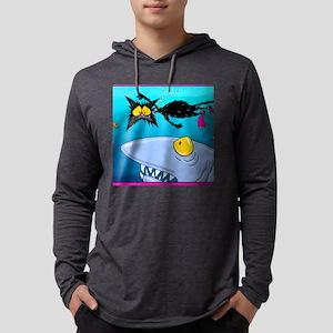 shark attack funny cat Mens Hooded Shirt