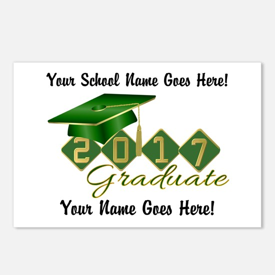Graduate 2017 Green Gold Postcards (Package of 8)
