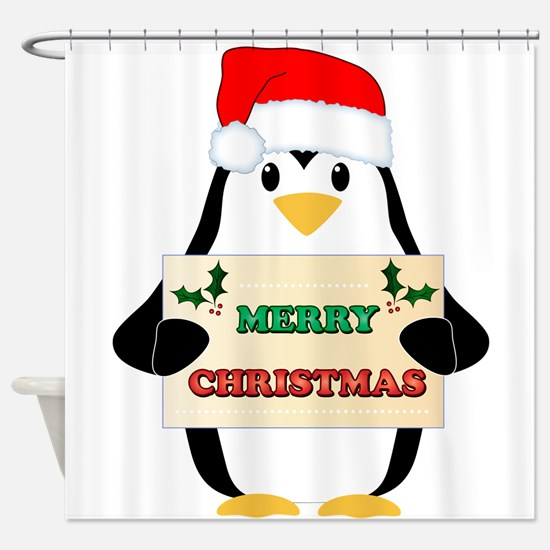 Christmas Penguin Shower Curtain