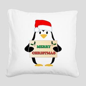 Christmas Penguin Square Canvas Pillow