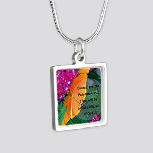 Peacemaker Butterfly Silver Square Necklace