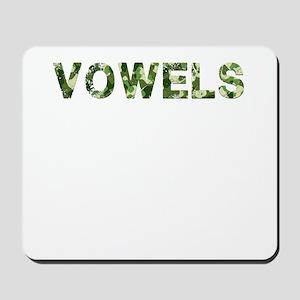 Vowels, Vintage Camo, Mousepad