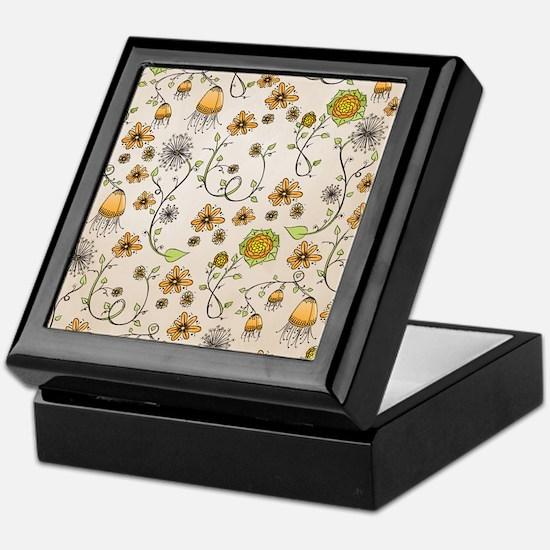 Whimsical yellow flowers on beige Keepsake Box