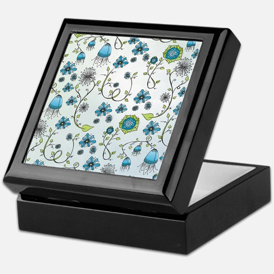 Whimsical blue flowers on blue Keepsake Box
