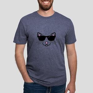 Cool Cat Wearing Sunglasses Mens Tri-blend T-Shirt