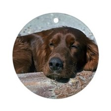 Sleeping Irish Setter Ornament (Round)