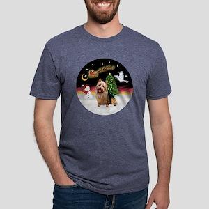 R-NightFlight-AussieTerrier Mens Tri-blend T-Shirt