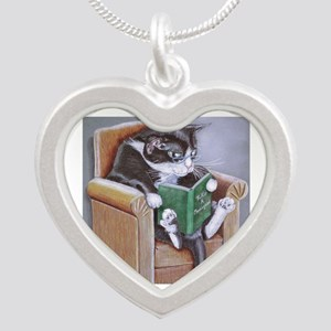 Reading Cat Silver Heart Necklace