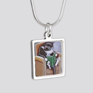 Reading Cat Silver Square Necklace