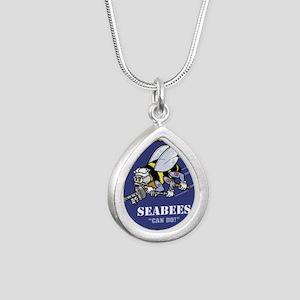 USN Seabees Silver Teardrop Necklace