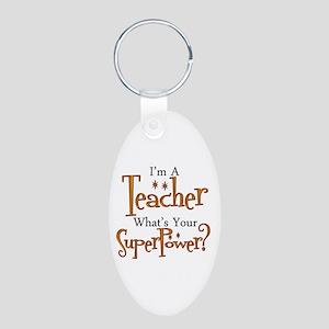 Super Teacher Aluminum Oval Keychain