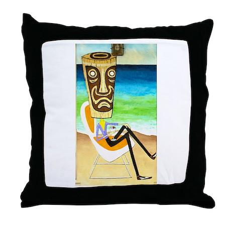 Tiki Man with Pina Colada Throw Pillow