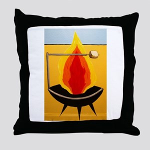 Smores Fire Pit Throw Pillow