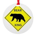 Bear Crossing Round Ornament